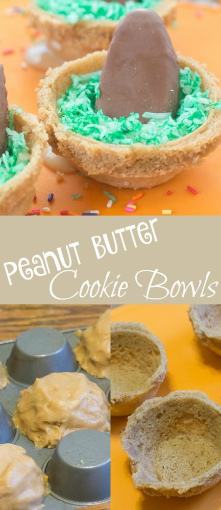 Peanut butter cookie bowls are PERFECT for ice cream, pudding, or just for snacking on. Super easy and super delicious.