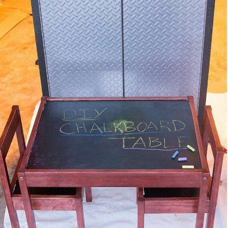 An easy DIY chalkboard table tutorial using an inexpensive table and chair set.