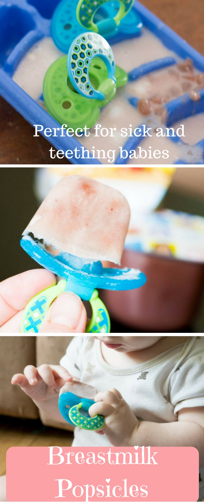 Breastmilk popsicles are great for sick and teething babies, or to give them a healthy treat that makes them feel like the big kids! These ones use baby food purees to make them even tastier!