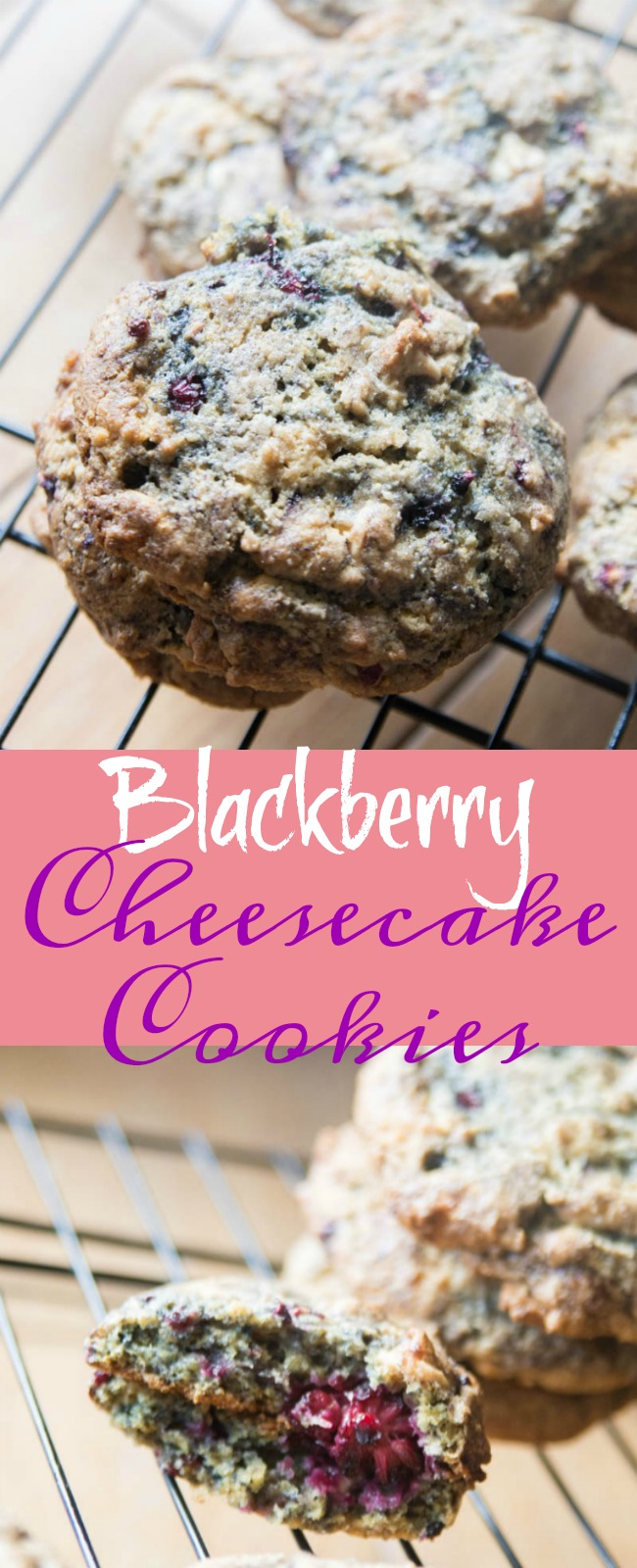 White Chocolate Blackberry cheesecake cookies - these are soft and tasty, and VERY easy to make! via @clarkscondensed