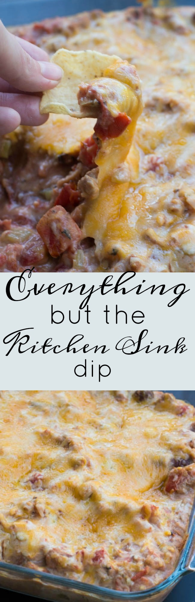 This is a cheesy bean dip recipe that is a delicious appetizer for parties and get togethers!