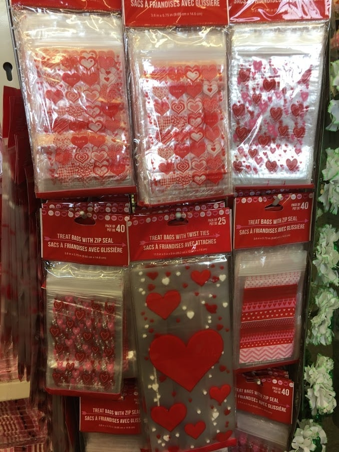 Valentines stickers on display in Dollar Tree