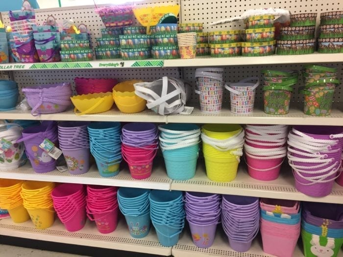 Lots of colored buckets on display
