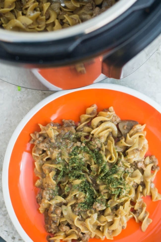 A bowl of food with broccoli, with Beef Stroganoff and Recipes