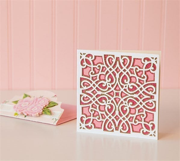 intricate design on a card from cricut