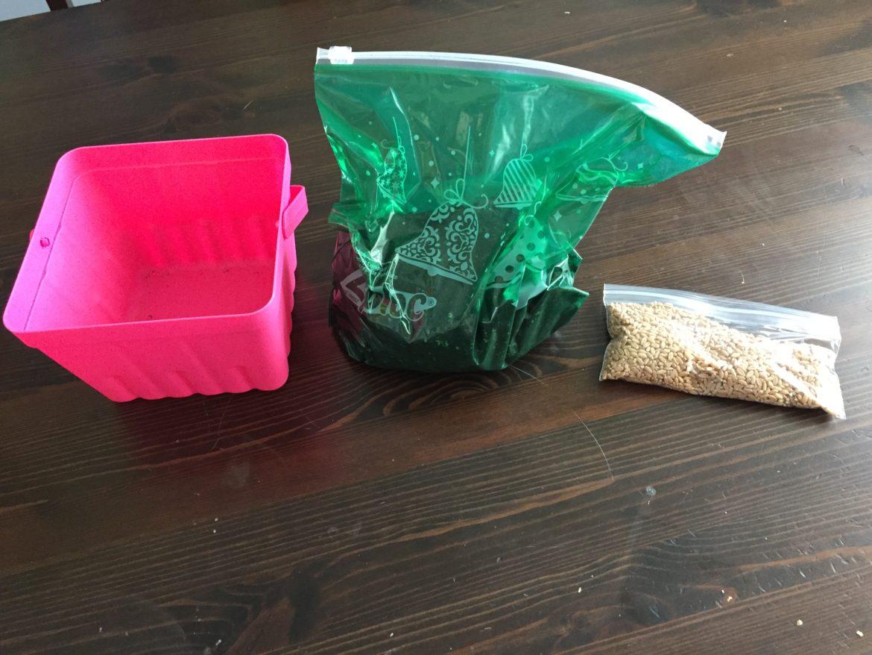 Plastic bag with mud