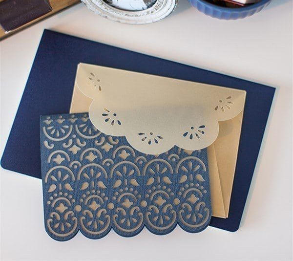 A table topped with a blue background