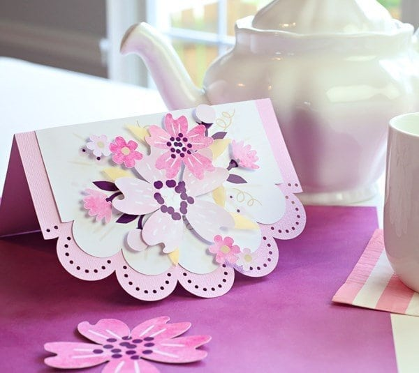 A close up of pink flowers on a table