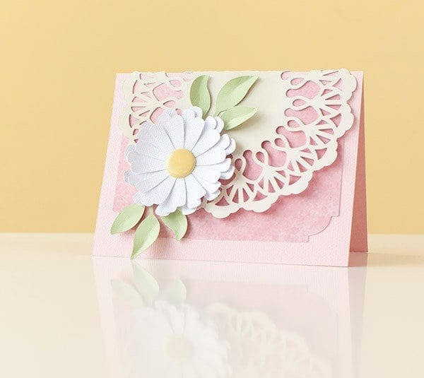 beautiful card with lace and flower