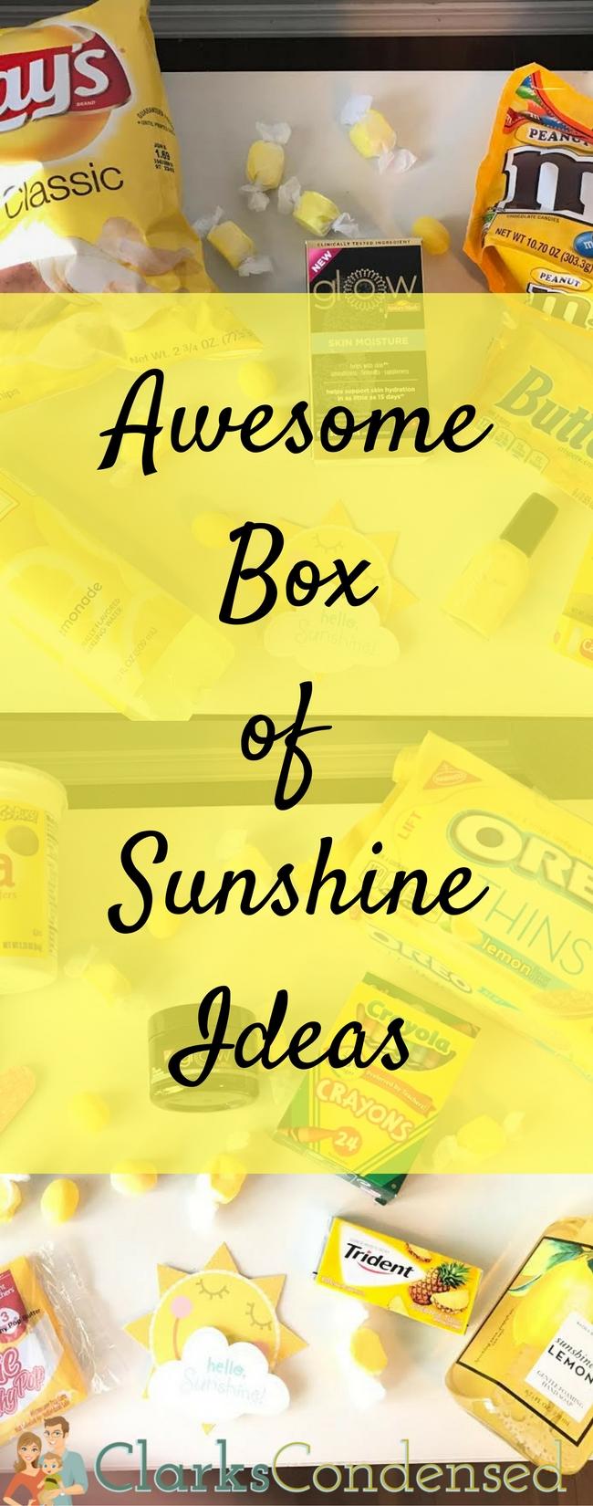 Box of Sunshine Ideas / Box of Sunshine / Sunshine Box Ideas / Care package ideas