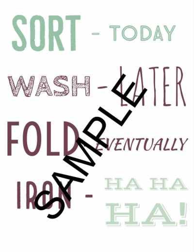 FREE Printable Laundry Signs - Sort Wash Fold Iron
