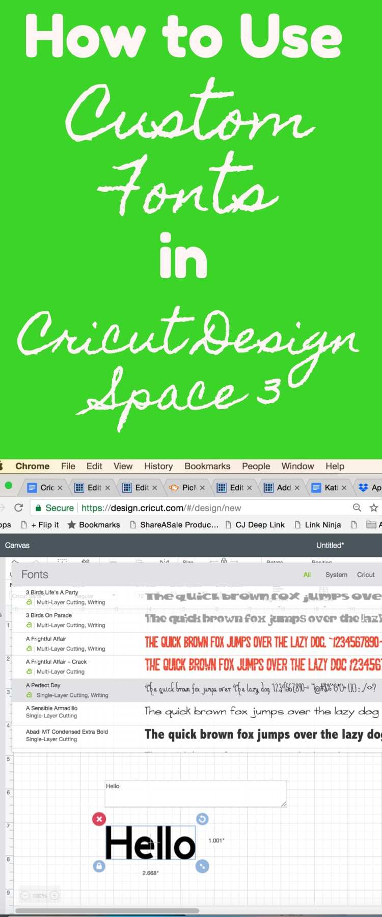How to Use Fonts in Cricut Design Space 3 / Design Space / Cricut for beginners via @clarkscondensed