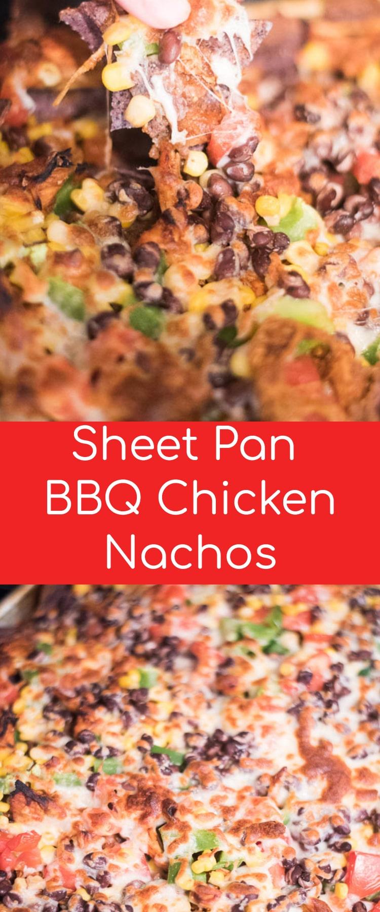 BBQ Chicken Nachos / SHeet Pan Nachos / Best Chicken Nachos / Pulled Chicken Nachos #nachos #appetizer via @clarkscondensed