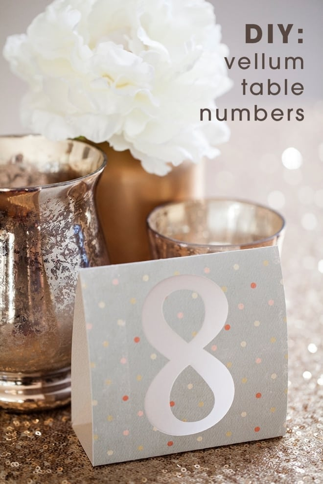 Table number printed on a card