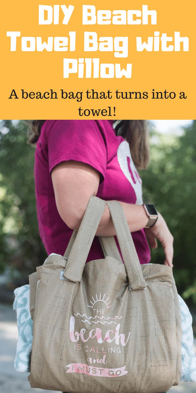Beach Towel Bag / Towel that turns into bag / towel with pillow / sewing / cricut / cricut made / beach craft via @clarkscondensed