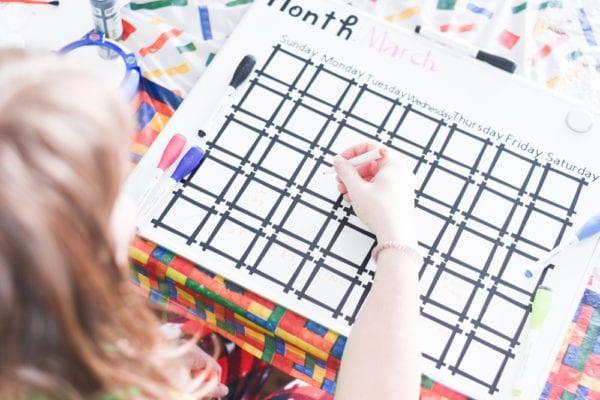 DIY Dry Erase Board calendar