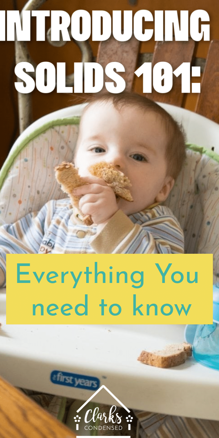 Introducing Solids 101: Everything you need to know about introducing your baby to new foods - first food ideas, how often and how much, and different methods you can use! via @clarkscondensed
