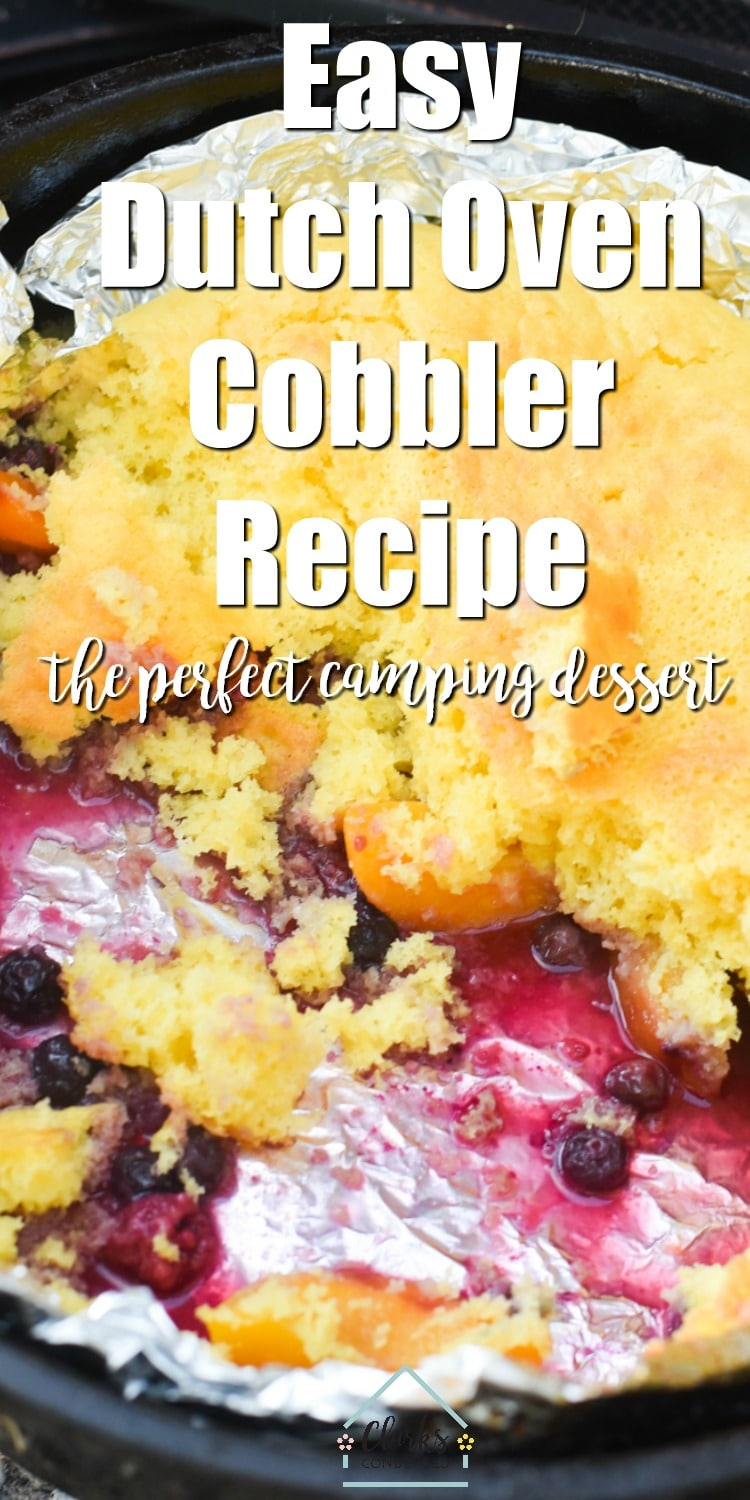 The Best Outdoor Dutch Oven Peach Cobbler Recipe with Berries via @clarkscondensed