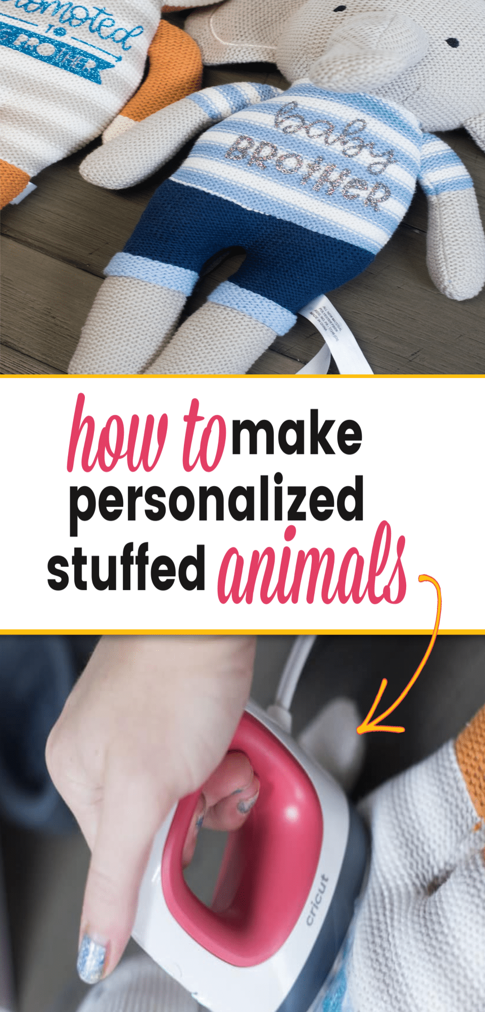 Customize your favorite stuffed animals with iron-on! Here are a few tips for how to use vinyl on stuffed animals! This is a great Cricut DIY project using the EasyPress Mini - great baby shower gift! via @clarkscondensed