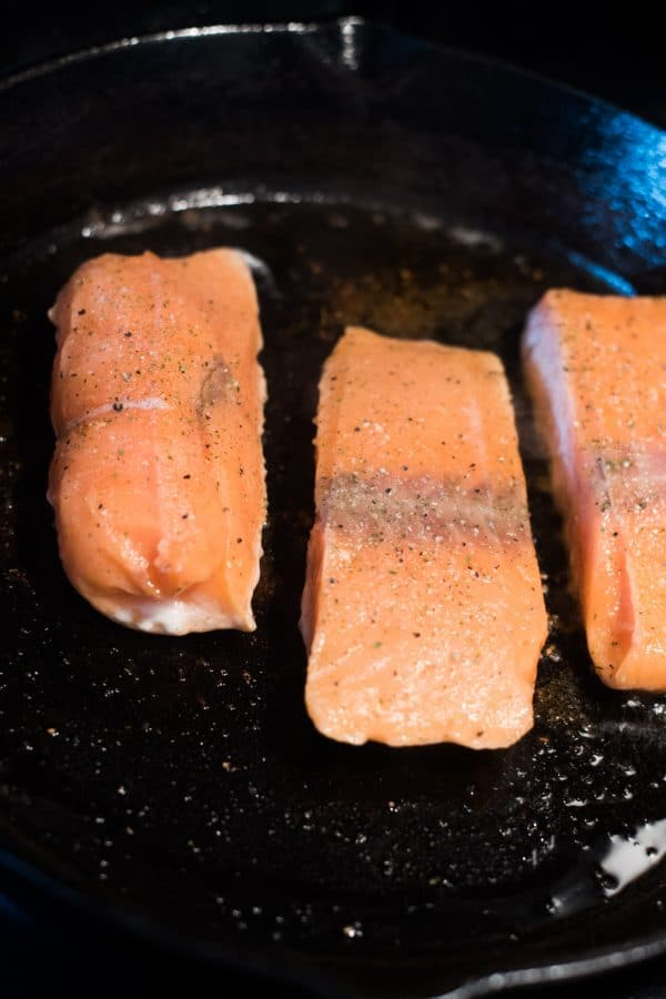A pan of food on a plate, with Rastelli\'s and Salmon