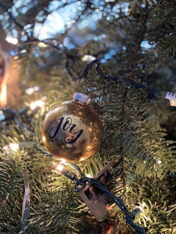 joy glitter ornament
