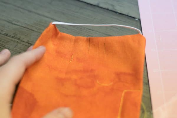 A close up of a diy orange mask