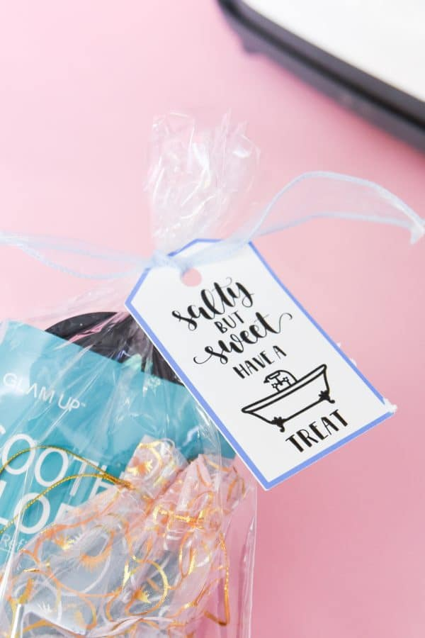 spa bag with sign