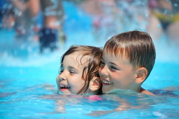 baby swimming in Water park