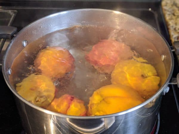 boiling peaches to remove the skin