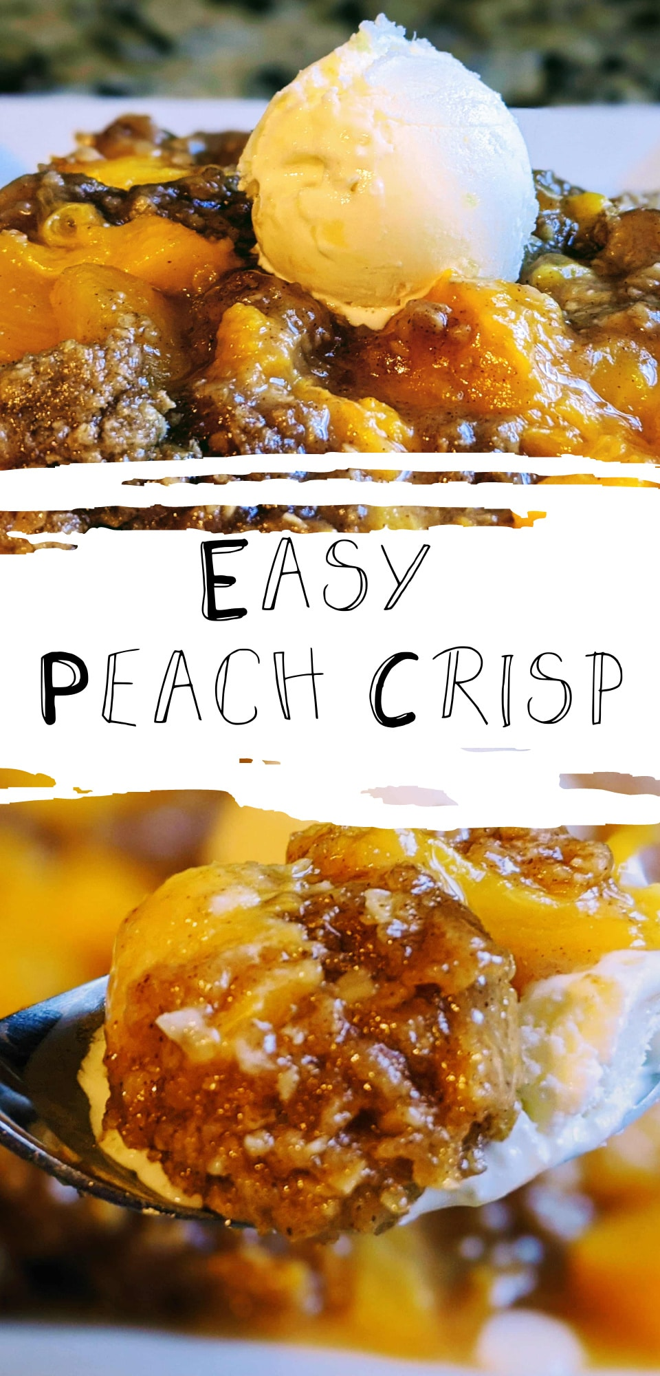 An easy peach crisp recipe is the perfect ending to any summer meal. This recipe comes together in a snap and is absolutely delicious! via @clarkscondensed