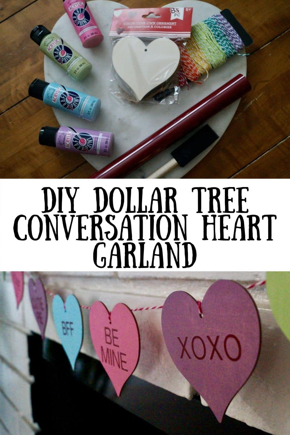 This super easy Conversation Heart Garland will be such a fun addition to your Valentine's Day decorations. With just a handful of supplies and your Cricut, you will have this garland made in no time! via @clarkscondensed