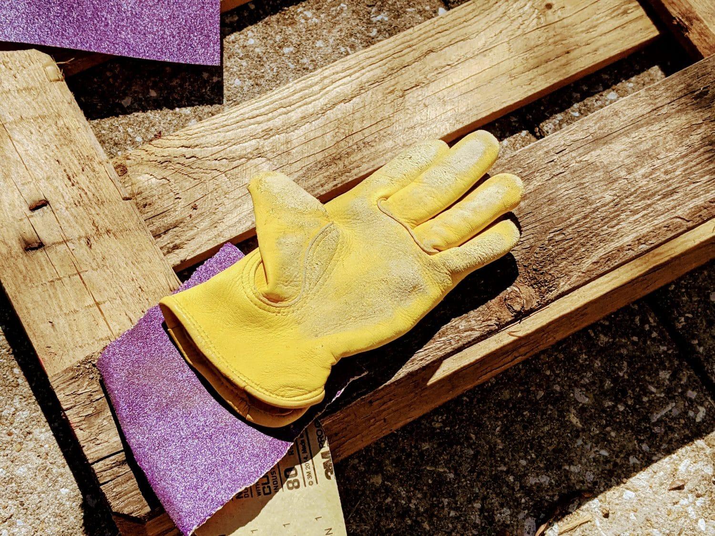 gloves on pallet garden