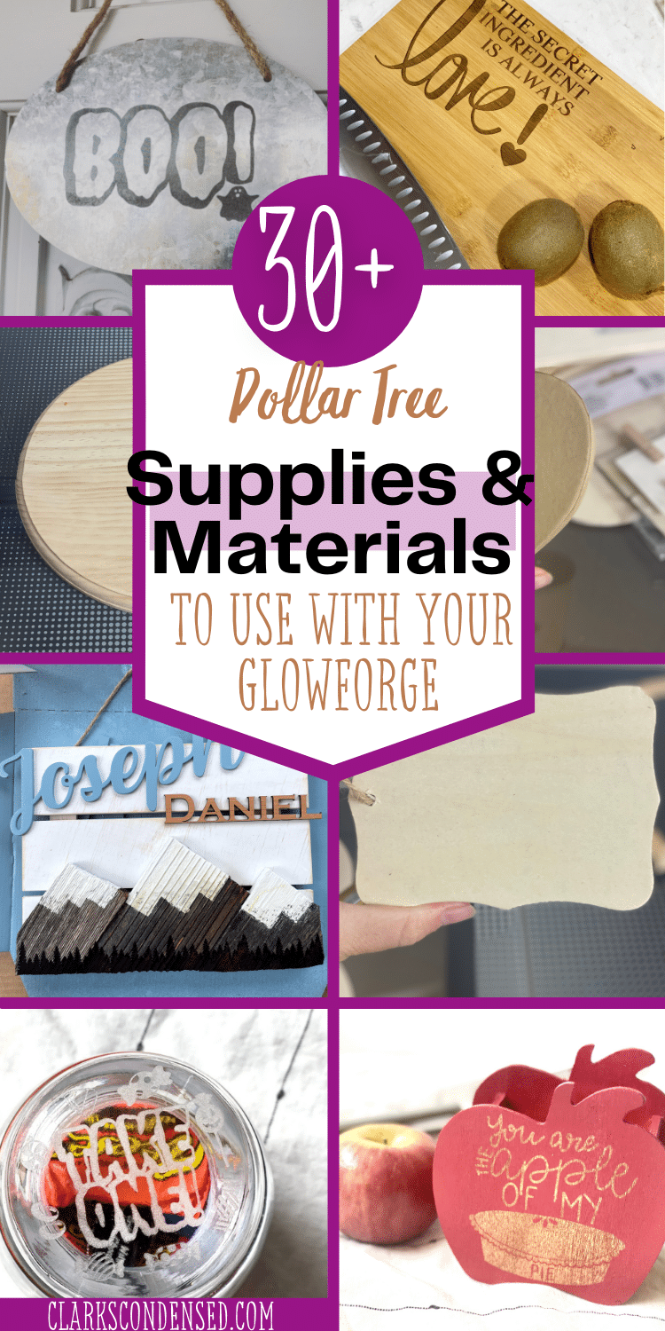The Dollar Tree can be a literal goldmine when it comes to your Glowforge! Here is everything you need to know about buying blanks and supplies at the Dollar Tree to use with your Glowforge! via @clarkscondensed