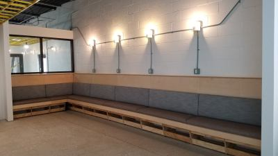 Custom Banquette Booth Seating   Color & Ink   with 5/8 Architecture