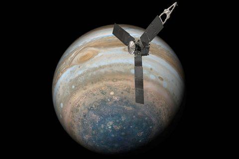 This illustration depicts NASA's Juno spacecraft soaring over Jupiter's south pole. (NASA/JPL-Caltech)