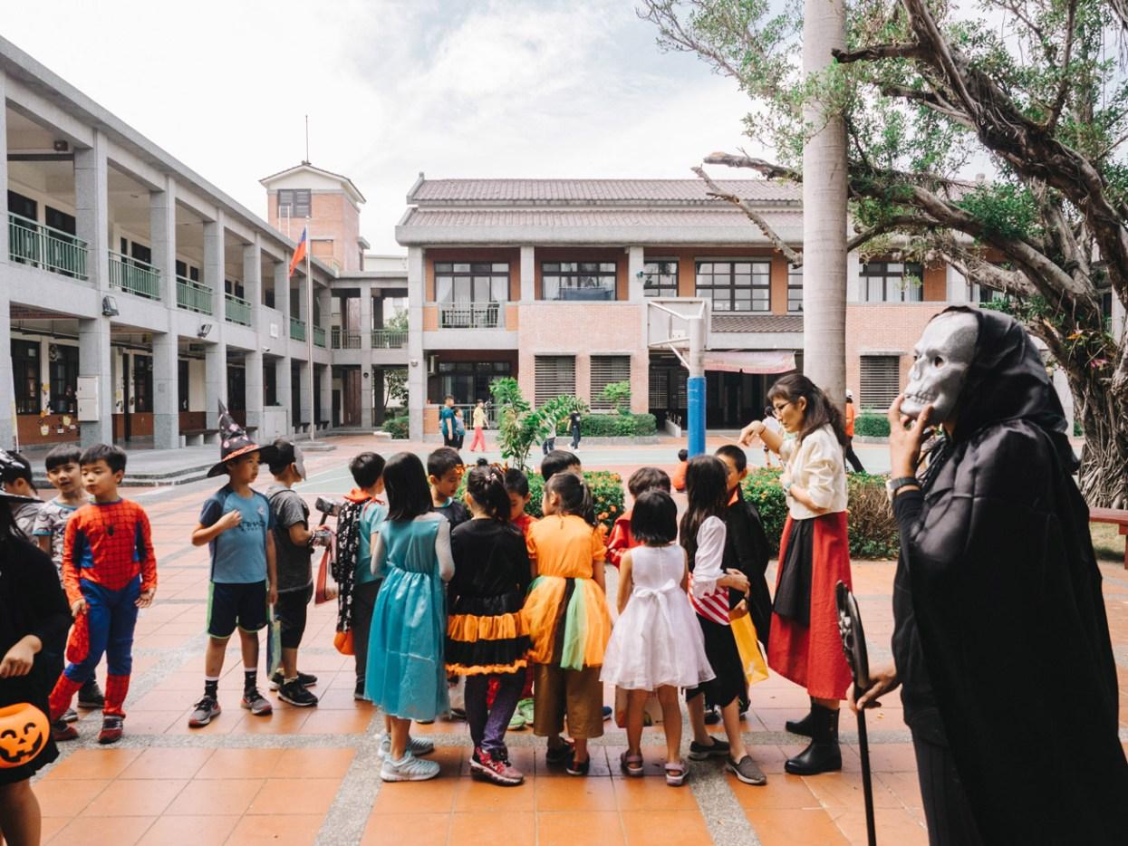 School kids celebrating Halloween