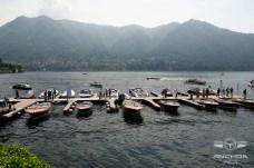 Colección de lanchas Riva en el embarcadero del Hotel en el lago Como.