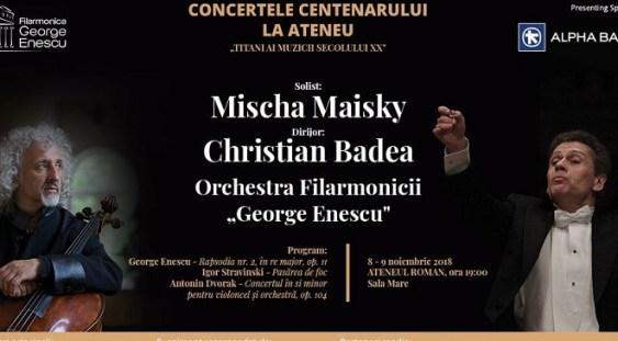 Mischa Maisky și Christian Badea, în concert la Ateneul Român