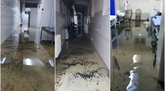 FOTO   Spitalul din Arad, inundat după o ploaie torențială