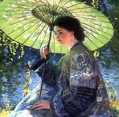The Green Parasol by Guy Rose. Gandy Gallery: www.gandygallery.com/art