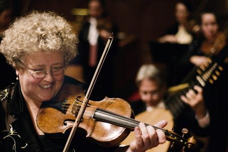 Violinist Monica Huggett (Photo: Basil Childers)