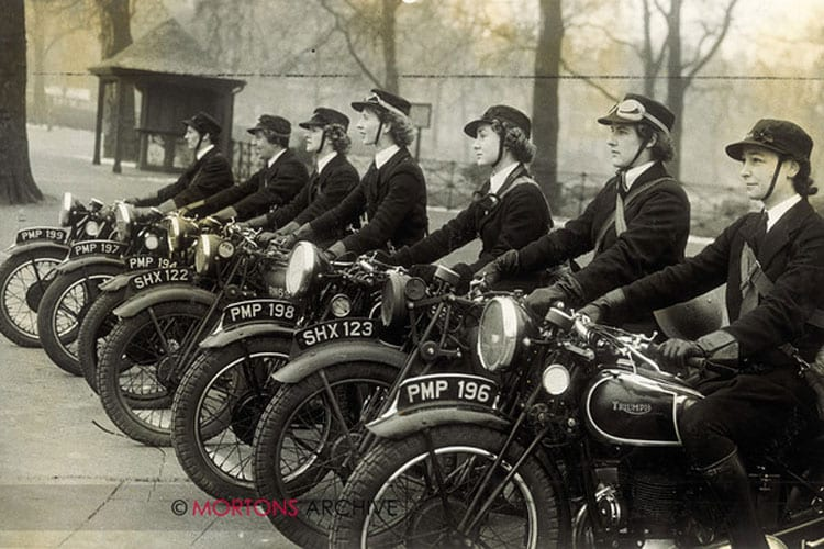The despatch riders of the women's Royal Naval Service taken in 1941 during World War 2.. Photo: Mortons Archive