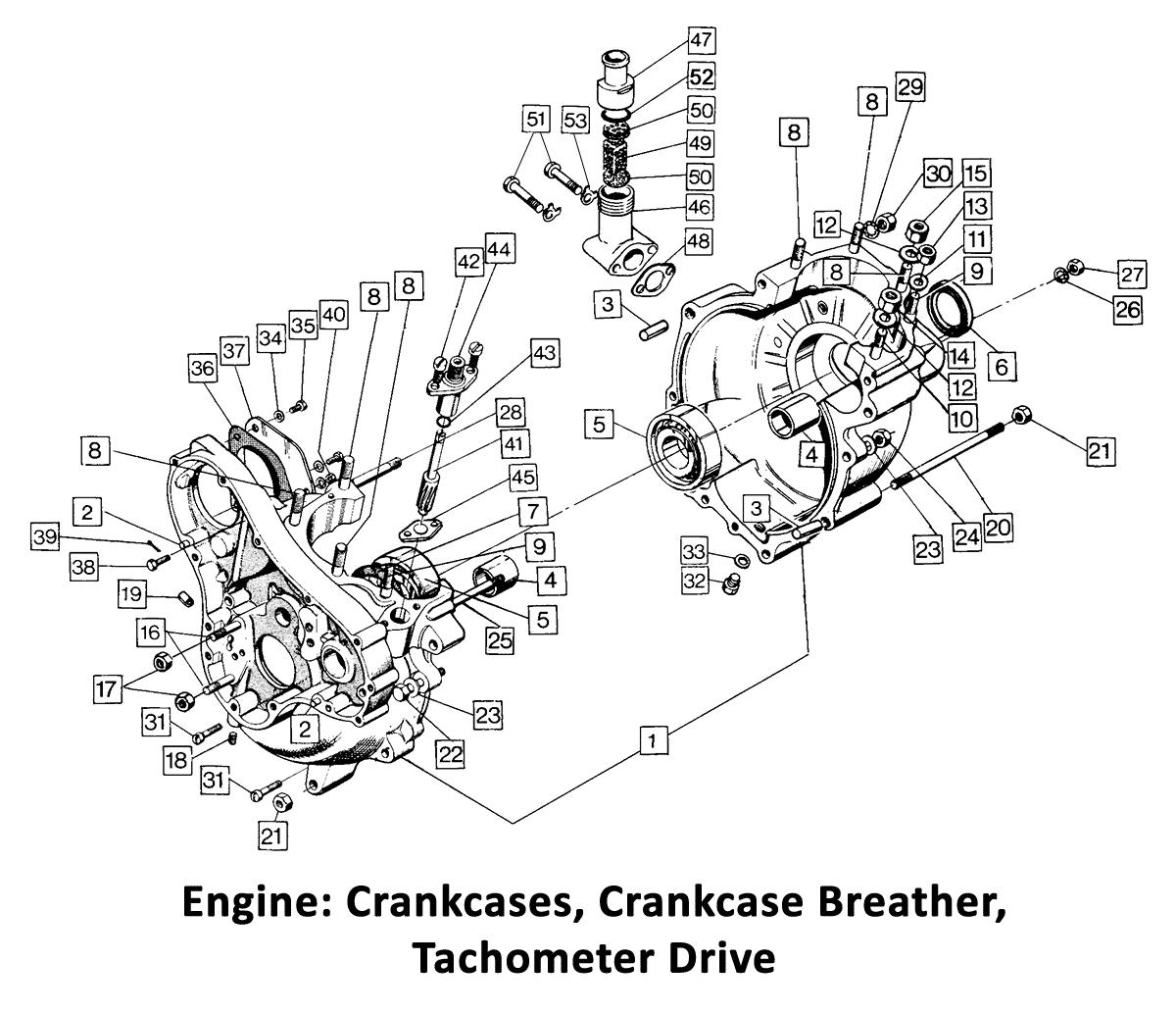 Norton Commando Crankcases Breather Tacho Drive