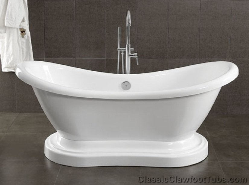 69 Acrylic Double Ended Slipper Pedestal Tub Classic