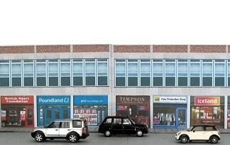 Modern shops row