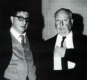 Alfred Hitchcok with composer Bernard Herrmann