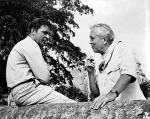 richard burton and john huston during filming night of the iguana