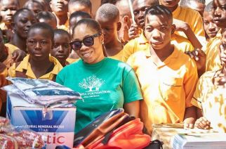 Moesha Bodoung spent her birthday with students of Billaw Basic School in the Upper West Region