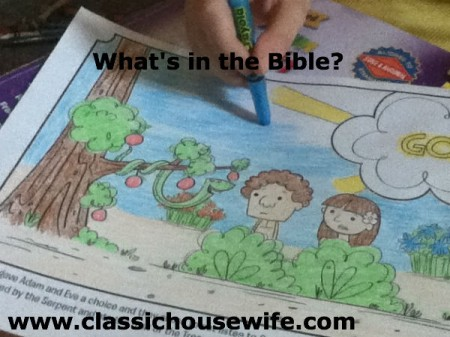 Coloring a What's in the Bible Page