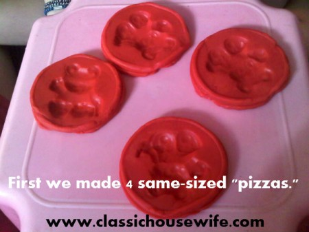 making playdough pies to cut into fractions